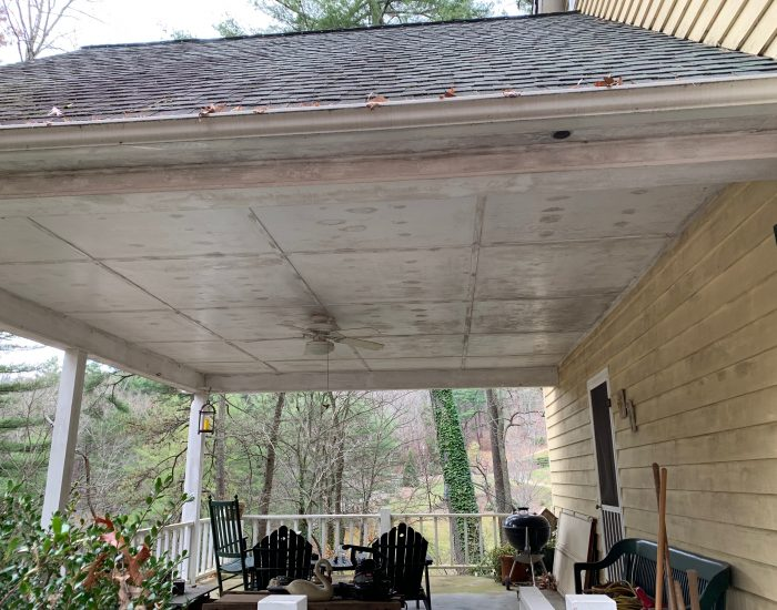 mold and mildew on ceiling porch in Hendersonville, NC-pressure washing house