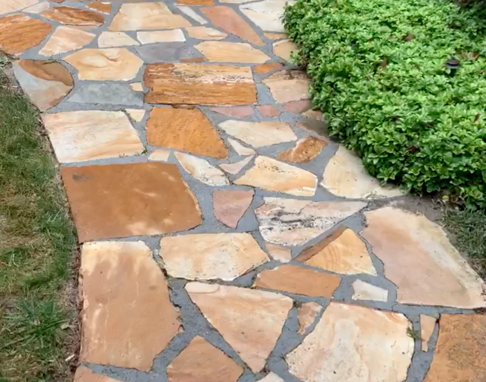 power washing on flagstone walkway