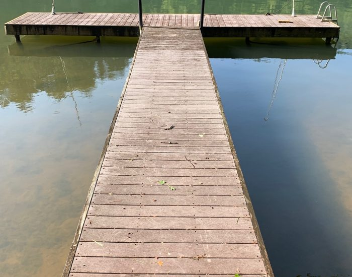 dirty dock before pressure cleaning