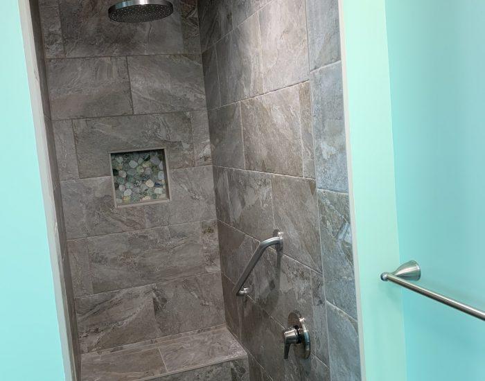 tile shower remodel with new tile